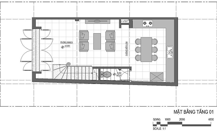 Thiết kế nhà liên kế, nhà lô 4 tầng